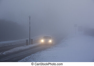 Driving in Freezing Fog - United Kingdom - Winter driving in...