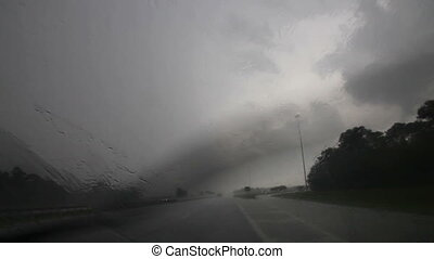 Driving in heavy rain with sound