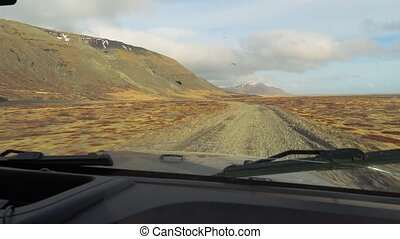 Driving in Iceland, gravel road - Driving in Iceland, gravel...