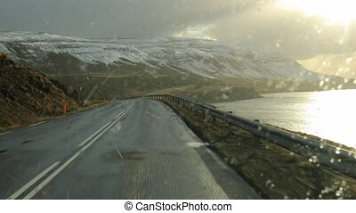 Driving in Iceland, Snowing