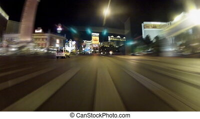 Driving in night Las Vegas - time-lapse