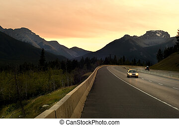 Driving in Rockies - Driving Trans-Canada highway through...