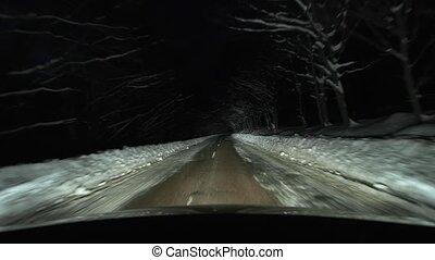 Driving in snow at night
