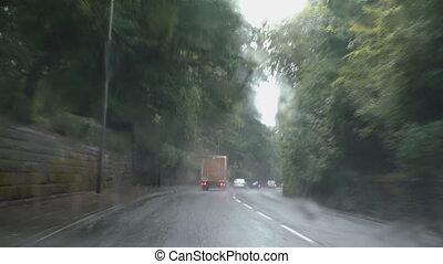 Driving in summer rain