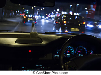 driving in the night - blur motion