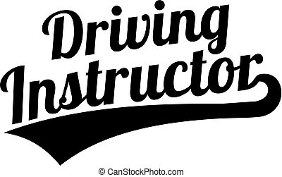Driving instructor word retro font