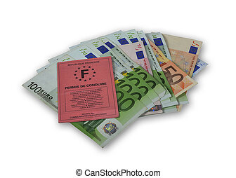 driving licence with money