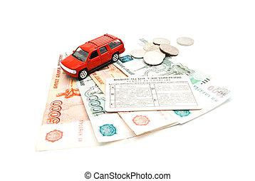 driving license, banknotes and car
