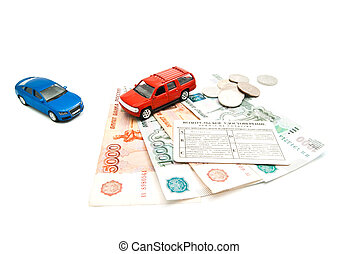 driving license, banknotes and cars