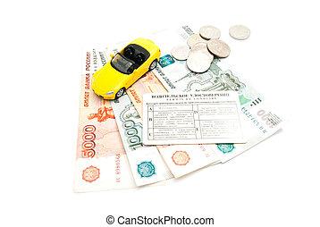 driving license, banknotes and yellow car