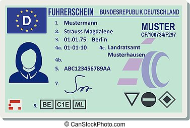 Driving license for berlin icon, flat style.