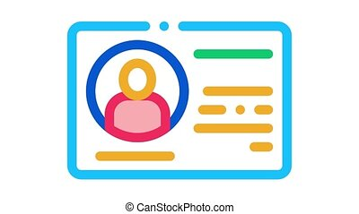 driving license Icon Animation. color driving license animated icon on white background