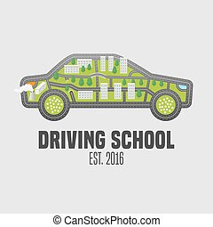 Driving license school vector logo, sign, emblem. Car with...