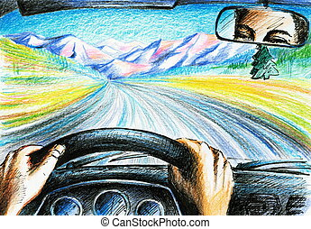 Driving - Man driving with car. Picture created with colored...