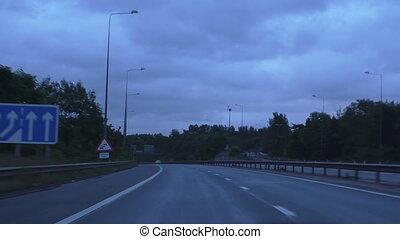 Driving motorway, airplane landing - Windscreen or driver...
