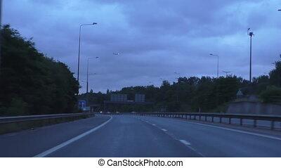 Driving motorway early morning