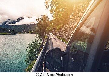 Driving Narrow Norwegian Road