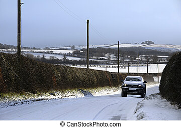 Driving on a country lane in North Yorkshire - England