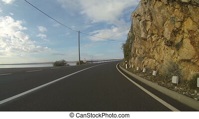 Driving on a Croatian coast road