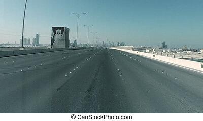 Driving On A High Way In Abu Dhabi, UAE