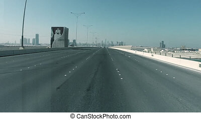 Driving On A HighWay In  Abu Dhabi, UAE