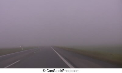 Driving on a motorway in the fog