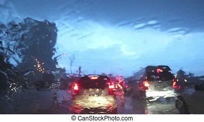 Driving on a rainy street