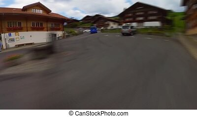 Driving on a road at Switzerland countryside