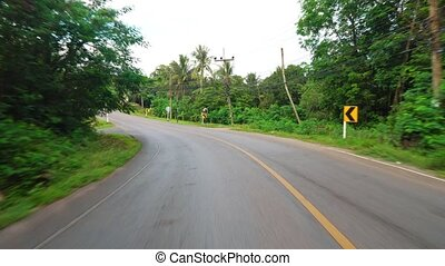 driving on an asphalt road. Travel and tourism