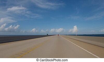 Driving on bridge in Florida
