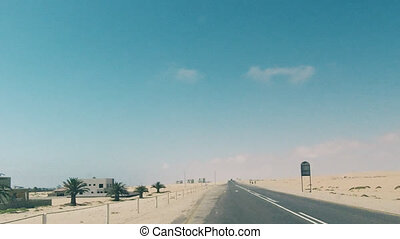 Driving On Coastline Highway In Namibia
