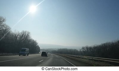 Driving on contry road in sunny day. - Driving on contry...