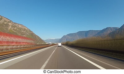Driving on higheway in Alps
