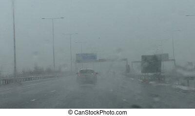Driving on motorway in sleet