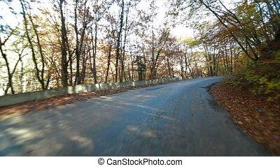 mountain road to Ai-Petri - Driving on mountain road to...