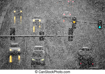 Driving on Snow and Snowy Roads in Winter Blizzard
