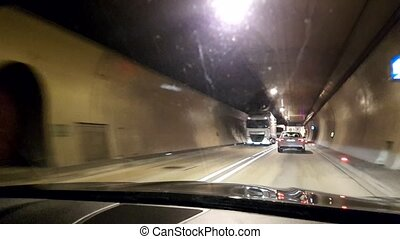 Driving on the autobahn Through the tunnel
