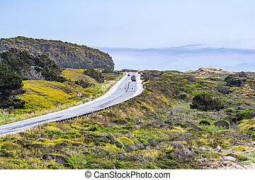Driving on the scenic Highway 1 (Cabrillo Highway) on the ...
