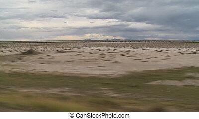 Driving Past Altiplano Countryside Plain, Bolivia