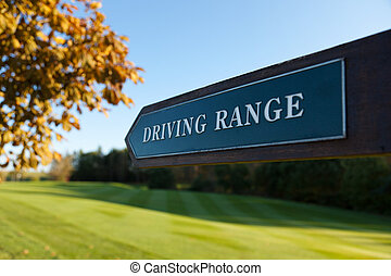 Driving Range Direction Sign - Driving Range direction sign...