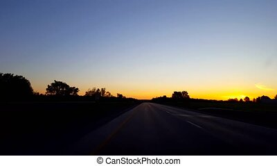 Driving Rural Countryside Highway During Sunrise. Driver...