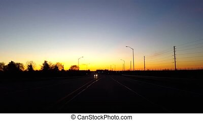Driving Rural Countryside Road During Sunrise. Driver Point...