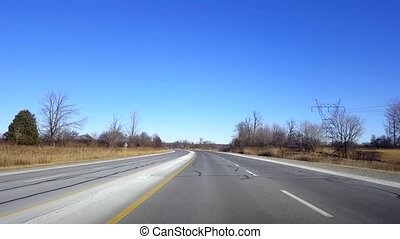 Driving Rural Highway During Day. Driver Point of View POV...