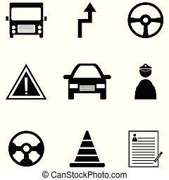 driving school icon set