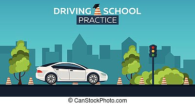 Driving school illustration. Auto. Auto Education. The rules...