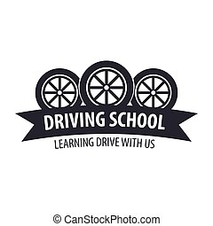 Driving school logo and emblem template. Auto education....