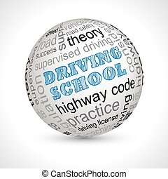 Driving school theme sphere with keywords full vector