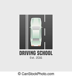 Driving school vector logo, sign, symbol, emblem. Car...