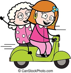 Driving Scooter with a Old Lady - Retro Cartoon Female Housewife Mom Vector Illustration