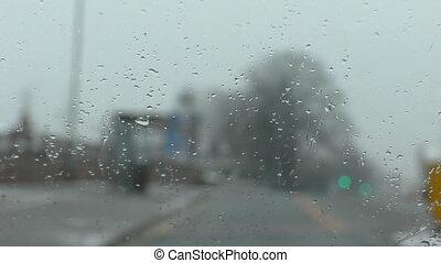 Driving sleet focus on windshield